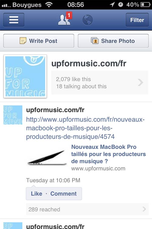 application facebook pages2 Application iPhone : Facebook pour les Pages Fans