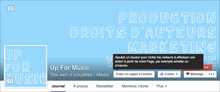 Bouton d'appel à l'action sur Facebook