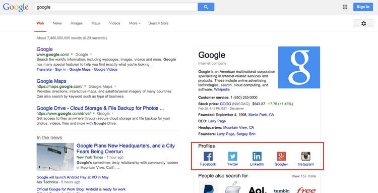 Ajouter ses réseaux sociaux sur Google Search